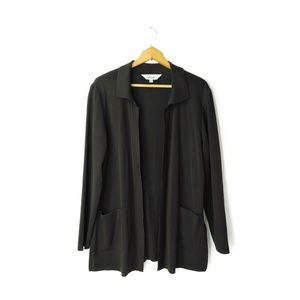 Exclusively Misook black open front cardigan